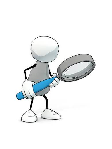 little sketchy man searching with magnifier